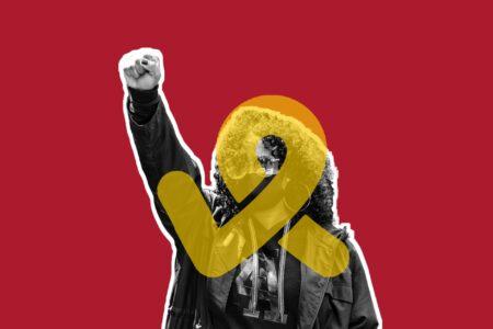 Raised fist and Imaginact logo